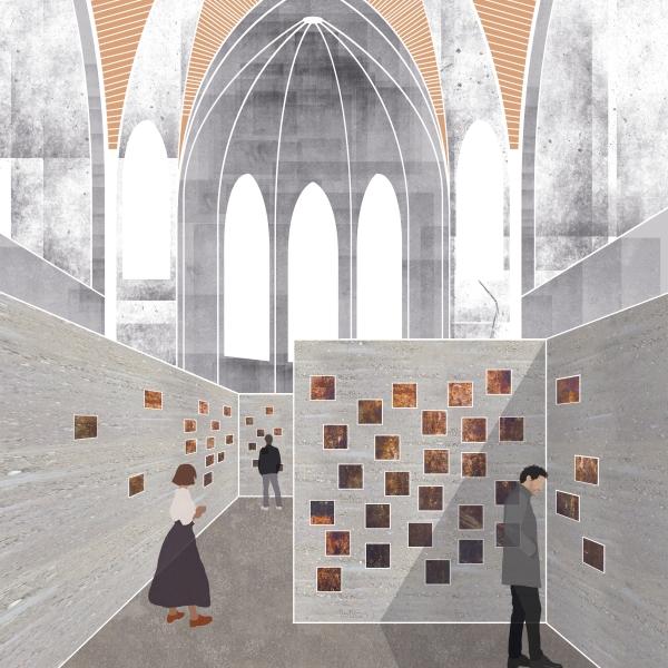 Perspektive Urnenwall im Kirchenraum Kolumbarium Vision Entwurf Kirchenumnutzung