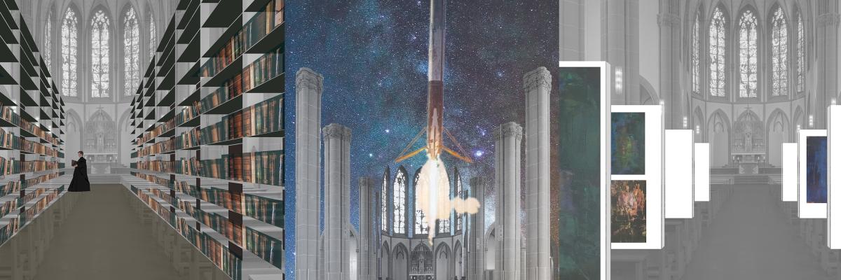 Collage Umnutzung Agneskirche Köln Kirchenumnutzung Kirchenarchitektur Zukunft